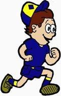Running colorful boy clipart