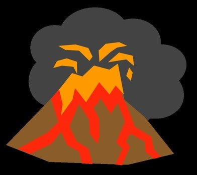 eruption of volcano, drawing