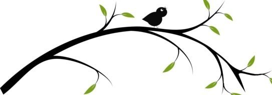 painted little black bird on a branch