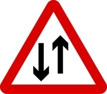 Singapore Road Signs, Warning, two Way Traffic
