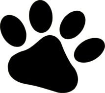 black animal footprint on a white background