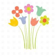 Clipart of the colorful wild flowers