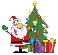 Santa Claus drawing near the Christmas tree with gifts