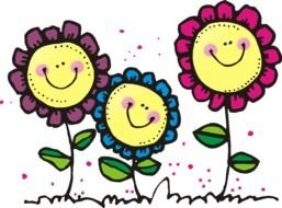 Colorful drawing with the smiling flowers clipart