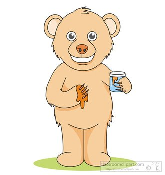 Brown Bear Standing Holding Jar Honey Classroom
