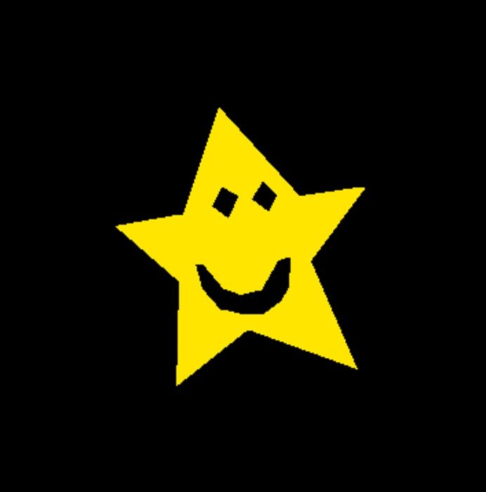 yellow funny star drawing