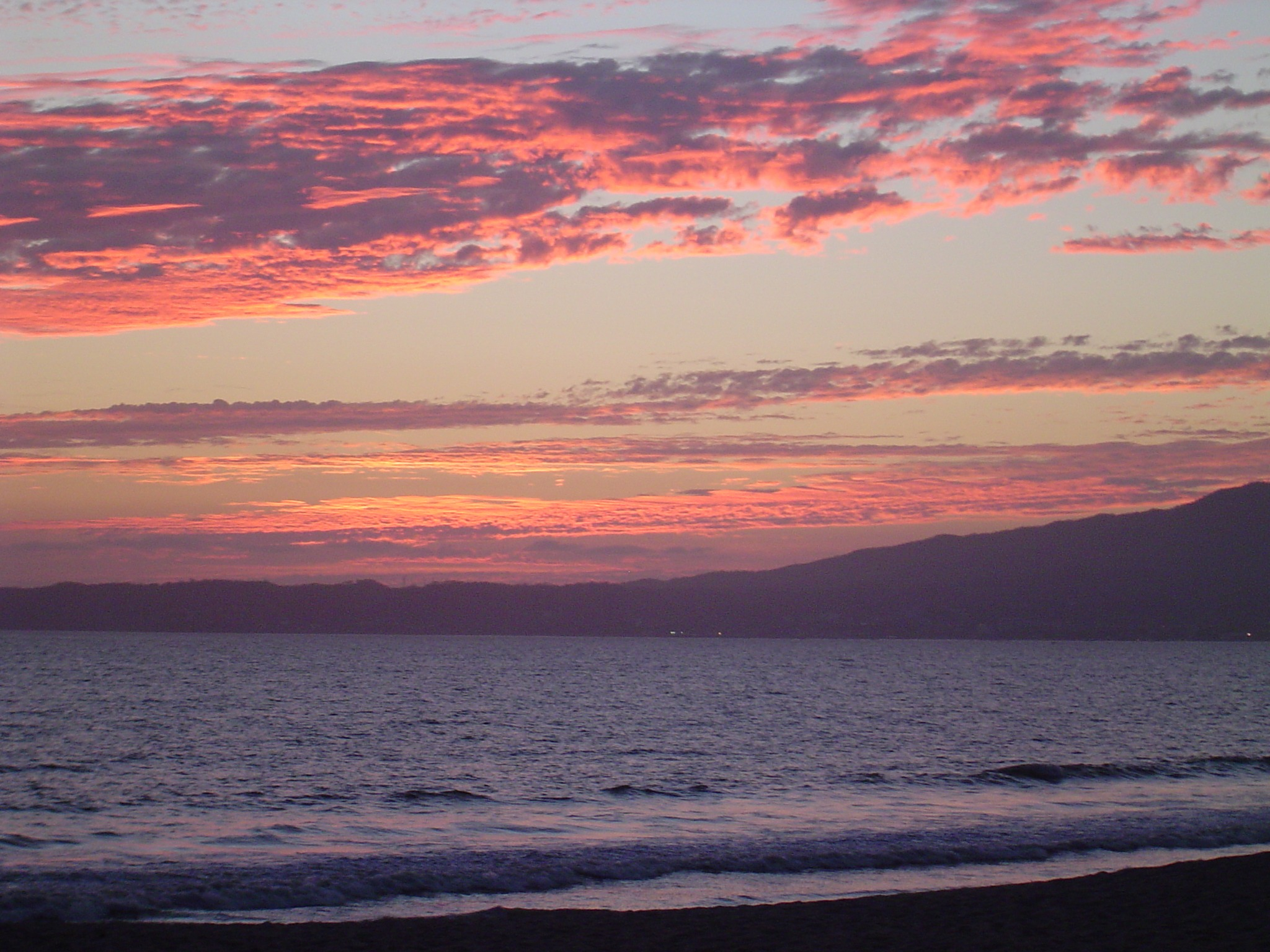 Pink Blue And Purple Sunset Sky Above Ocean Mexico Free Image