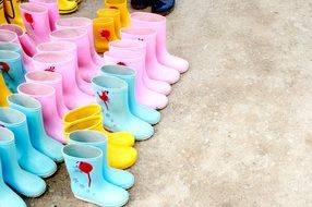 rubber children's boots in different colors