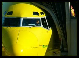 yellow aircraft machine