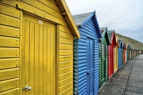 colorful wooden beach houses