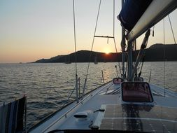 sailboat anchorage sunset corsican