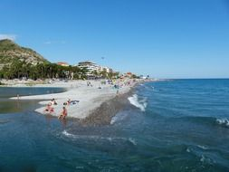 panoramic view of a crowded beach in Ventimiglia in Italy