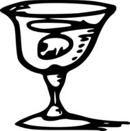 alcohol beverage in goblet, illustration