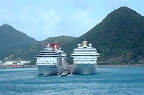 touristic feries in the caribbean at st maarten island