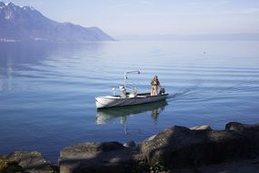 fishing boat on a lake in Switzerland