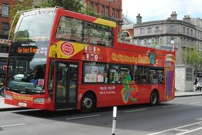 red double decker tourist bus