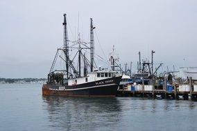 oldtimer fishing ships in harbor
