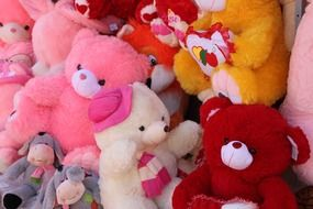 many different colorful soft toys
