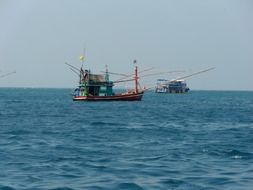 fishing boats in the sea in thailand