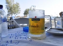 cold beer in a cafe in greece