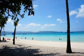 people on tropical beach, Philippines, boracay