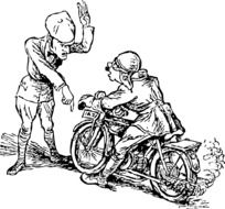 drawing a motorcyclist and policeman