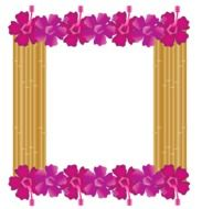 Red hibiscus frame bamboo decoration