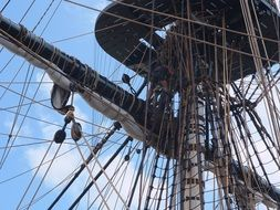 Sail ropes and rigging of french frigate hermione