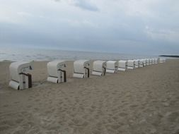 loungers on the beach on the island of Usedom