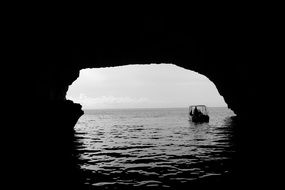 large cave on the ocean