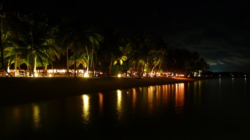 night shot of the beach