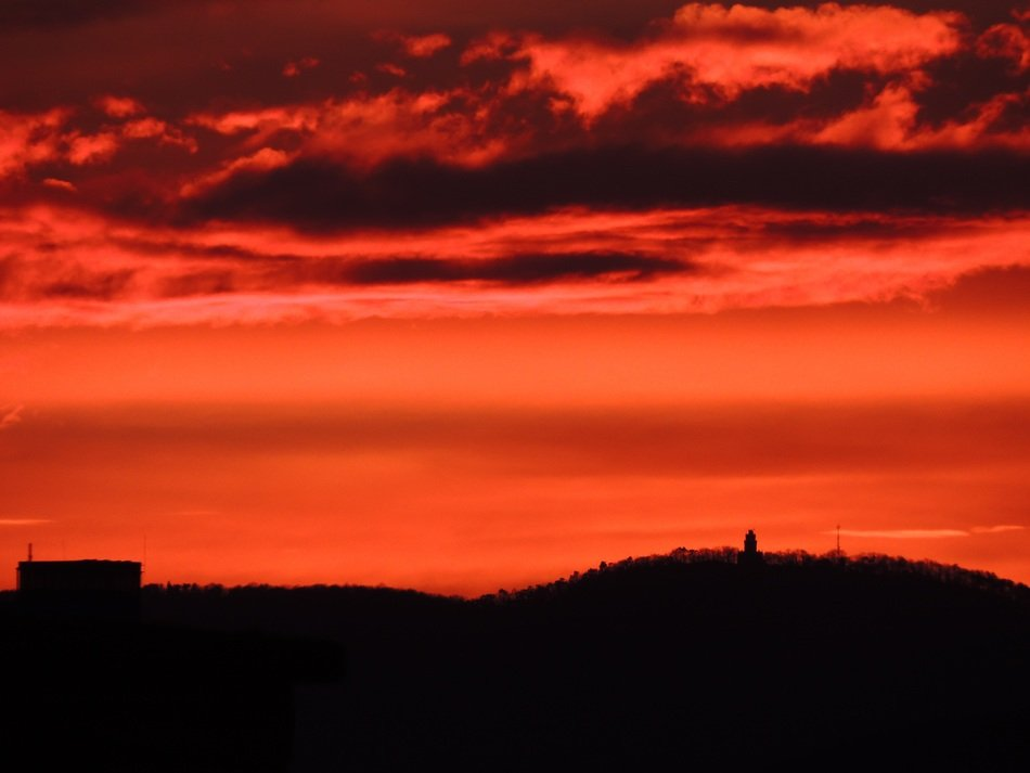 red sunset in Budapest, Hungary