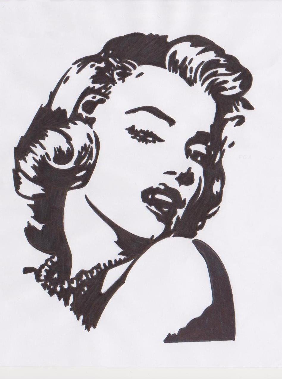 pop art marilyn monroe black and white face free image