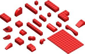 red lego blocks on a white background
