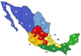 Mexico, colorful map