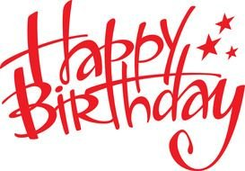 "red lettering ""happy birthday"" as a picture for clipart"