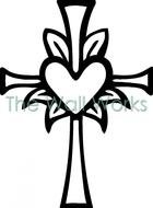 Black and white cross with the heart clipart