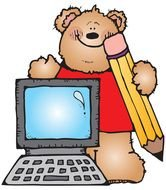 drawn teddy bear with a pencil and a computer
