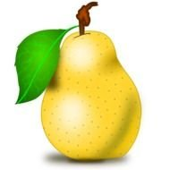 painted yellow pear with a green leaf