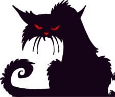 black angry cat with red eyes