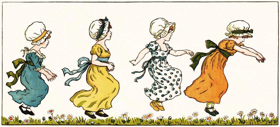 vintage drawing of a jumping girls