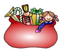 Colorful Christmas Gifts In The Bag Clipart