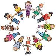 drawn children hold hands in a circle