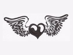 Black White Wings and Heart drawing