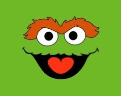 Cookie Monster Face on a bright green background