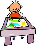 Cartoon child drawing clipart
