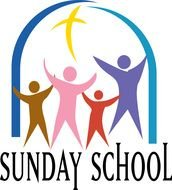 Sunday School, logo, four abstract people beneath arch with cross