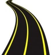 black road with yellow markings