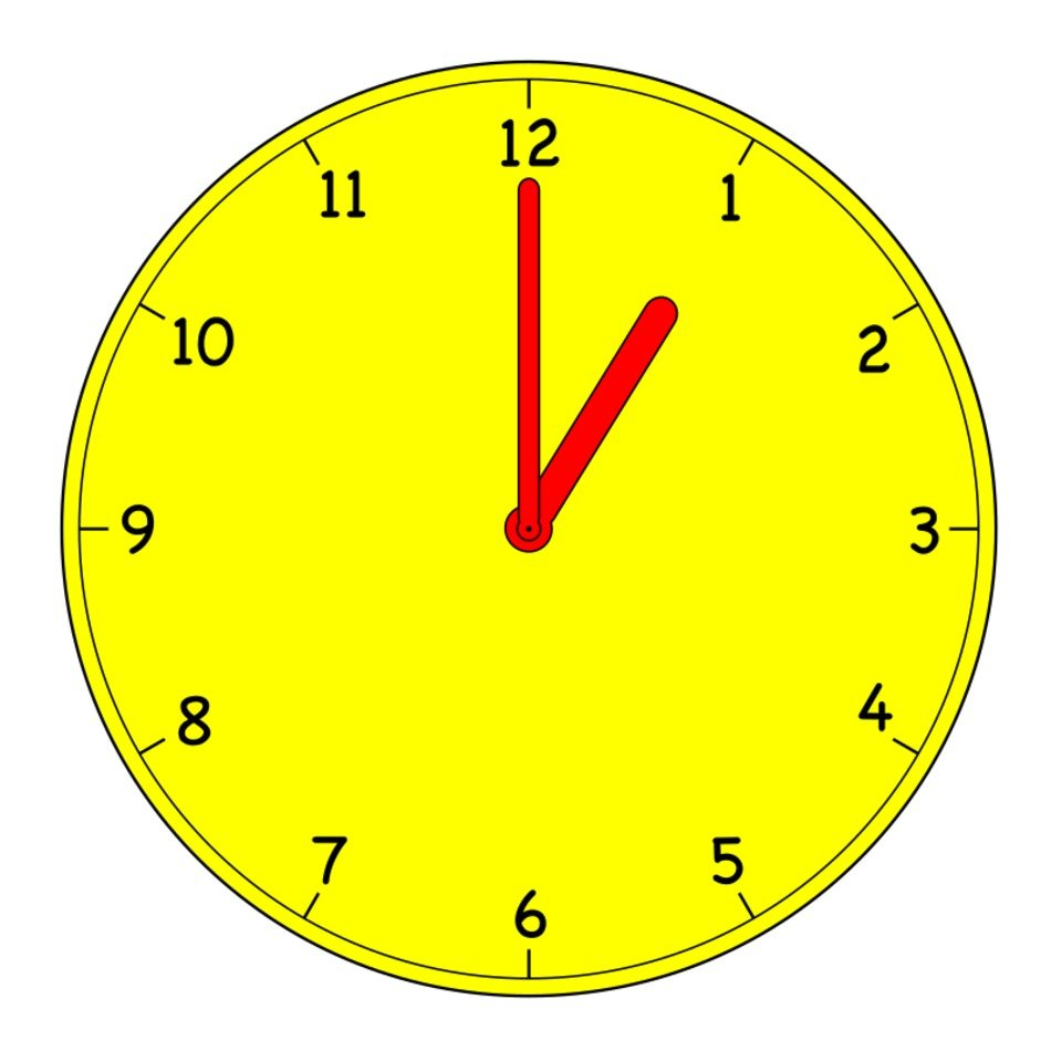 yellow clock face with red arrows