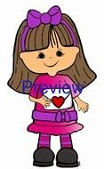Girl with letter clipart